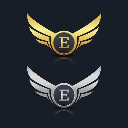 wings shield lettre e logo template