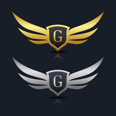 翼の盾 G 文字ロゴのテンプレート  イラスト・ベクター素材