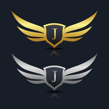 翼の盾 J の文字ロゴのテンプレート