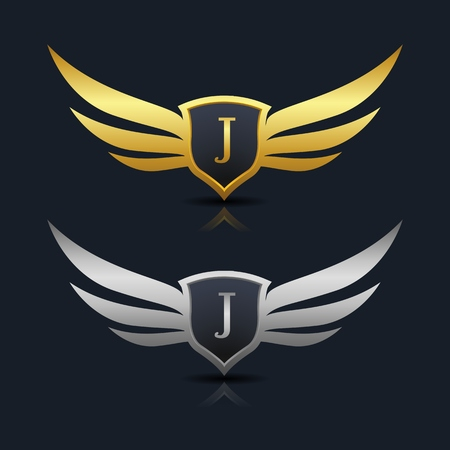Wings Shield Letter J Logo Template