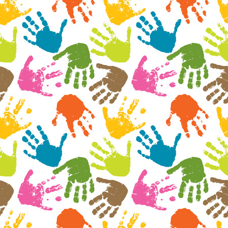 seamless vector pattern of prints of hands. multicolor Vetores