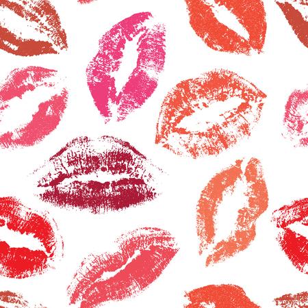 シームレスなベクトル パターンをキスします。唇柄プリント