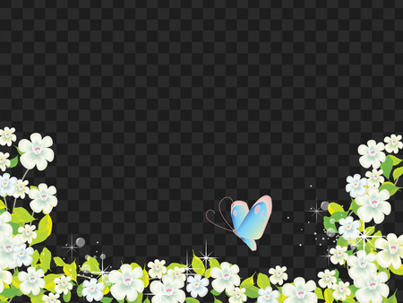 Fiori e farfalla paesaggio su sfondo nero trasparente Archivio Fotografico - 81005287