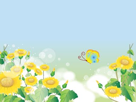 꽃 여름 또는 봄 풍경, 꽃, 푸른 하늘, 나비와 초원