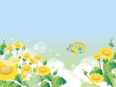 Floral summer or spring landscape, meadow with flowers, blue sky and butterflies Ilustracja