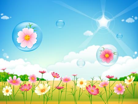 Paisaje floral de verano o primavera, pradera con flores, cielo azul y mariposas Foto de archivo - 81005315
