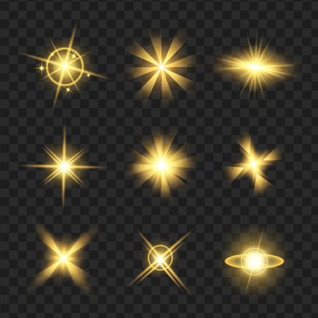 黄色の輝き光る星、輝きのアイコンを設定します。きらめき、まぶしさ、シンチレーション要素サイン、グラフィック光を効果します。透明なデザ