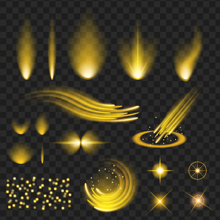 yellow shine stars with glitters, sparkles icons set. Effect twinkle, glare, scintillation element sign, graphic light. Transparent design elements background. Varied template Vector illustration Çizim