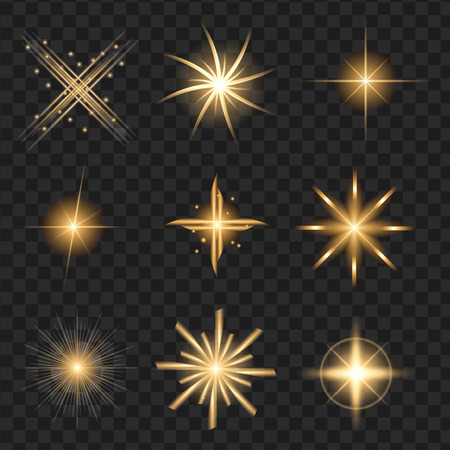 yellow shine stars with glitters, sparkles icons set. Effect twinkle, glare, scintillation element sign, graphic light. Transparent design elements background. Varied template Vector illustration Stock fotó - 81005327