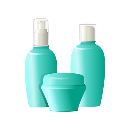 Realistic cosmetic bottles on white background. Cosmetic cream containers and tubes for cream, lotion, shampoo, gel, balsam, conditioner, spray.3d Vector Illustration