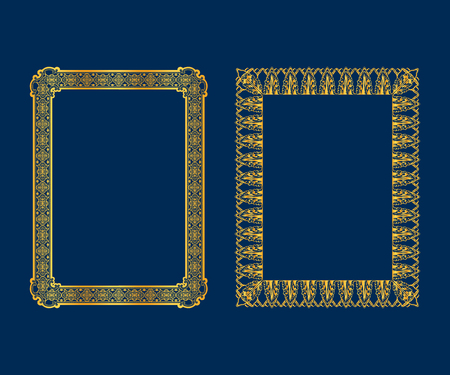 Set luxe decoratieve vintage kaders en randen instellen, gouden fotolijst Vector design decoratie patroonstijl. Stockfoto - 81005333
