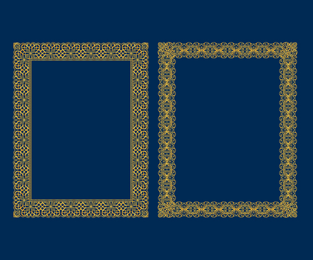 Set of luxury Decorative vintage frames and borders set,Gold photo frame Vector design decoration pattern style. Illustration