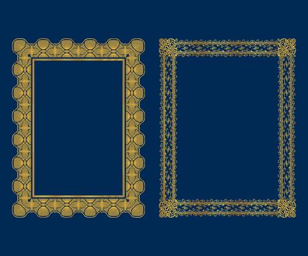 Set luxe decoratieve vintage kaders en randen instellen, gouden fotolijst Vector design decoratie patroonstijl.