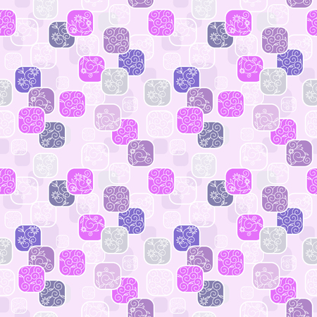 Vector seamless pattern with romantic floral background. Subtle pastel tints and elegant linear ornament.