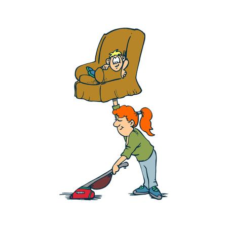 Creatief ontwerpconcepten van huisvrouwenactiviteit. Moeder en zoon, huishoudelijk werk. Vector illustratie