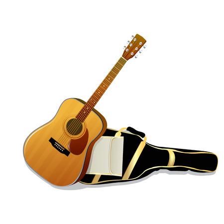 Acoustic guitars isolated on white background. Vector illustration Illustration