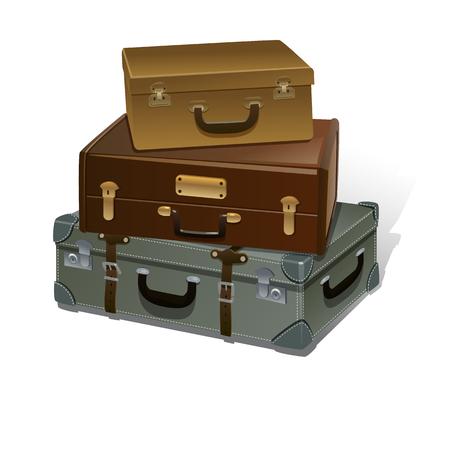 Retro Suitcases Vector Ilustración sobre fondo blanco. bolsa de viaje aislado