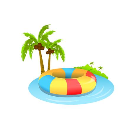 swim tube on beach isolated white background