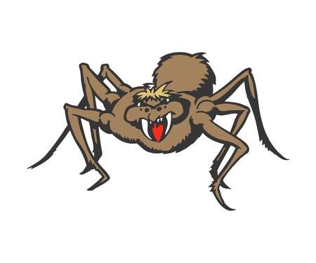 Monster spider cartoon. animal character illustration Çizim