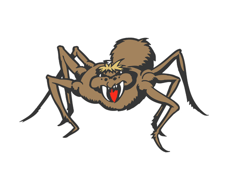 Monster spider cartoon. animal character illustration Illustration