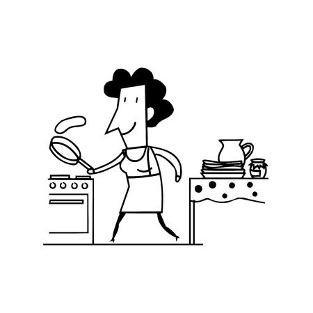 Illustratie van een vrouw die eiers slaat. geschetste cartoon