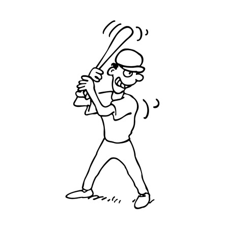 Baseball players outlined cartoon on a white background. Vector clip-art illustration