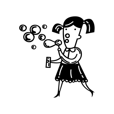 Cute little girl blowing bubbles. Vector Illustration.