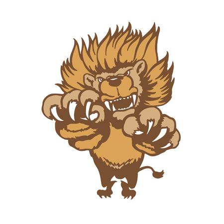 Fully editable illustration of a roaring cartoon Lion. Vector Illustration.