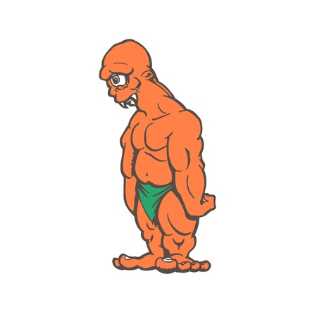 mythological character: Cyclops monster cartoon character on a white background vector illustration Illustration