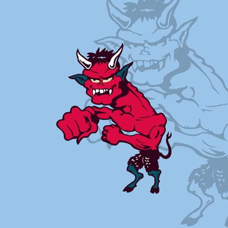 漫画のクレイジー悪魔。漫画の文字ベクトル図です。