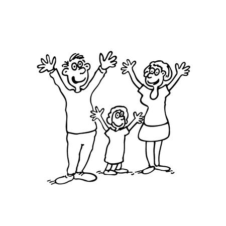 Doodle van gelukkige familie.