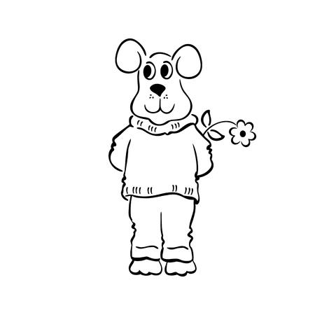Schetsmatig doodle hond vectorillustratie. geschetst cartoon tekening schets illustratie vector. Stock Illustratie