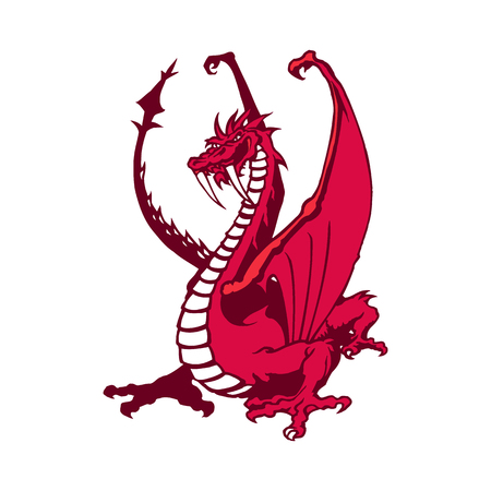 Rode draak mascotte. Dierlijke cartoon karakter vectorillustratie. Stock Illustratie