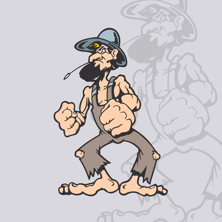 Dakloze cartoon karakter. Cartoon karakter vector illustratie. Stock Illustratie