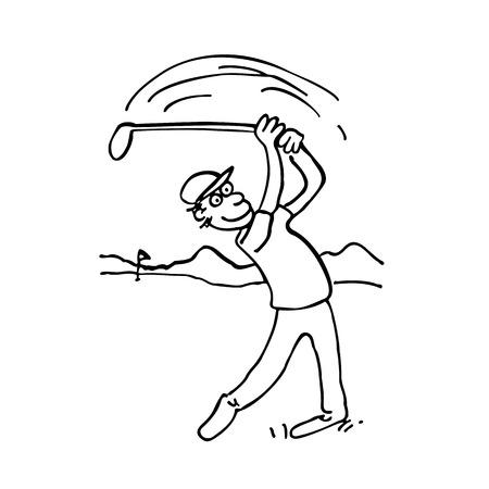 A vector illustration of cartoon man winding up for his golf swing Illustration