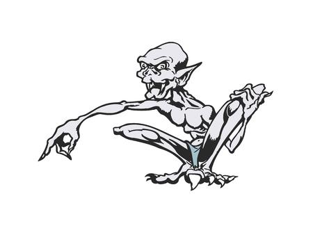 Skinny cartoon monsters . cartoon character Vector Illustration. Illustration