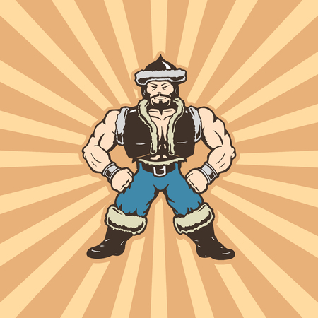 mongolian man cartoons character . cartoon character Vector Illustration. Illustration