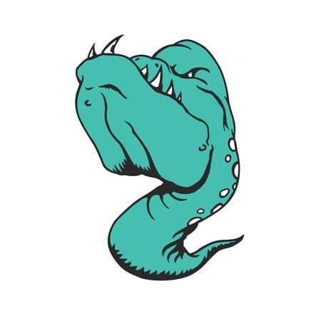 Personnage de bande dessinée Sea Monster. Illustration vectorielle de personnage de dessin animé animé. Banque d'images - 81014657