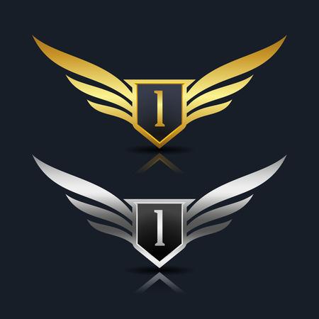 翼盾手紙私のロゴのテンプレート