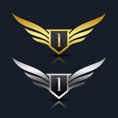 Wings Shield Letter I Logo Template
