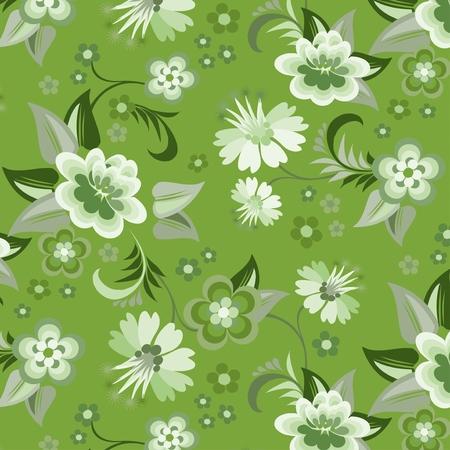 Seamless green floral wallpaper Illustration