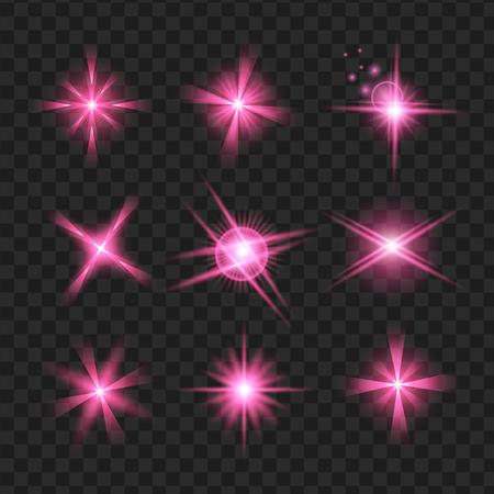 purple shine stars with glitters, Effect graphic light. Transparent design elements background. Illusztráció