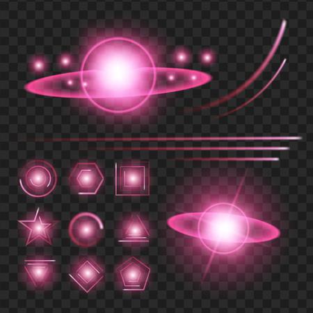 Paarse glans sterren met glitters, sparkles pictogrammen instellen. Effect twinkeling, verblinding, scintillatie-elementteken, grafisch licht. Transparante ontwerpelementen achtergrond. Gevarieerde sjabloon vectorillustratie