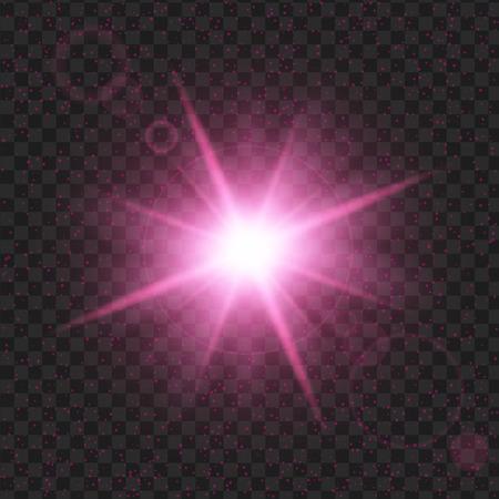 paarse glans sterren met glitters, Effect grafisch licht. Transparante ontwerpelementen achtergrond. Stock Illustratie