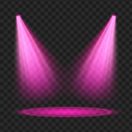 Paarse vector spotlight. Licht effect. Vector illustratie