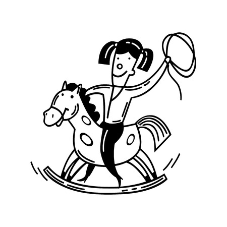 Happy little child and a rocking horse. cartoon Vector Illustration.
