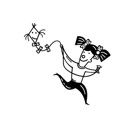 Cute little girl with kite. cartoon Vector Illustration.