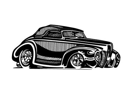 レトロなホットロッド車アート漫画イラストをベクトルします。 写真素材 - 81062194