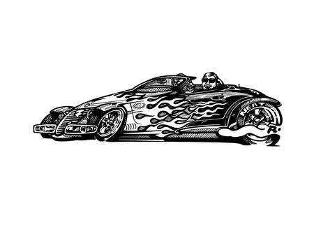 レトロなホットロッド車アート漫画イラストをベクトルします。 写真素材 - 81062253