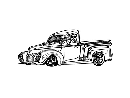 Vector retro hotrod car clipart cartoon Illustration.